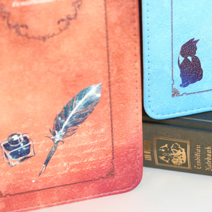 [青]紳士猫と羽ペン 手帳型スマホケース