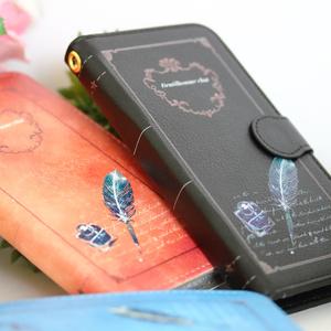 黒革手帳型スマホケース 紳士猫と羽ペン