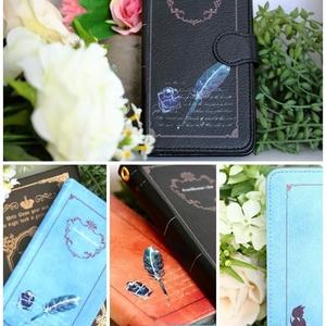 [緑]紳士猫と羽ペン 手帳型スマホケース