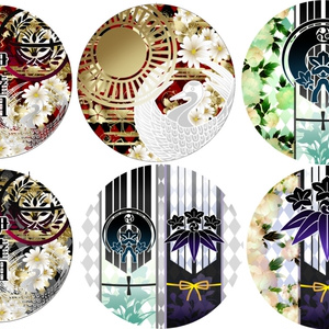 紋デザイン56ミリカンバッヂ