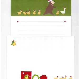★再販★ クリスマス アヒルとヒヨコとクマ達の行進 レターセット 冬 サンタ 便せん 手紙 シール 封筒 鳥 熊