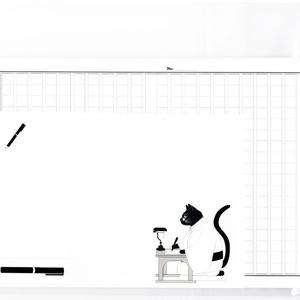 文豪猫原稿用紙 レターセット 黒猫 日本 和 動物 シール 封筒 便せん 小説 文学 万年筆
