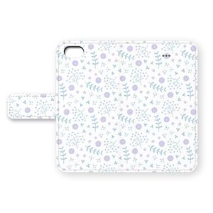 草花のiPhoneカバー(ブルー×パープル)