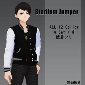 【試着有】スタジアムジャンパー風テクスチャ 白【男性Vroid用】