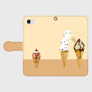【送料無料】シマエナガとアイスクリームの手帳型スマホケース