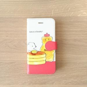 【送料無料】シロクマとホットケーキの手帳型スマホケース