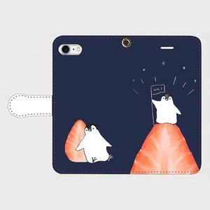 【送料無料】ペンギンのいちご登山 手帳型スマホケース
