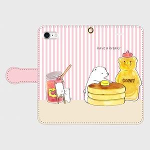【送料無料】ストライプ・シロクマとホットケーキの手帳型スマホケース