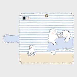 【送料無料】シロクマ親子の手帳型スマホケース