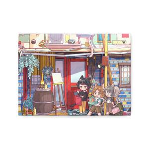 ネコネコネコのハッピーお買い物キャンバスイラスト