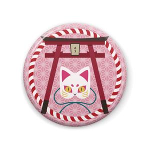 お面缶バッチ【猫】