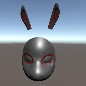 ウサギお面モデル【VRC想定・ローポリ△572】