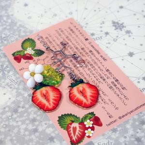 【食セサリー】アスコルビン酸(ビタミンC)苺バージョン イヤリング・ピアス