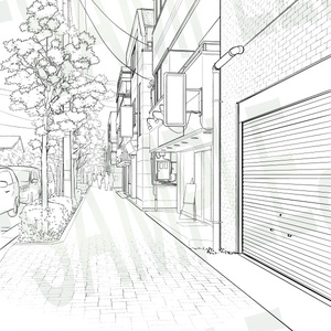 背景線画セット「街並み・住宅街」