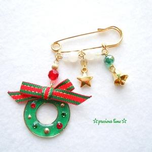 小さなクリスマスリース ブローチ