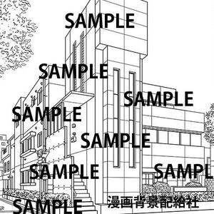 漫画背景素材「小さいビル」