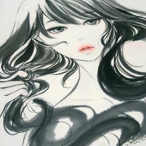 日本画《結ふ》 墨彩画