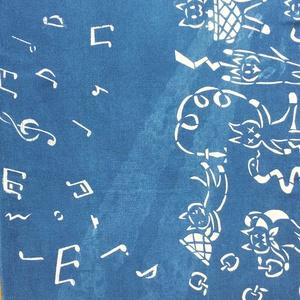 手拭い[ネコ達のリンゴ収穫]藍