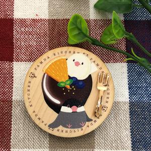 ウッドプレート風ブローチ*文鳥とチョコレートケーキ*