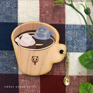 ウッドマグカップ風ブローチ*ハトとコーヒー*