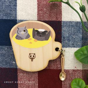 ウッドマグカップ風ブローチ*フクロウとミミズクとコーンポタージュ*