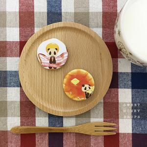 朝食セット缶バッジ(パンダ)