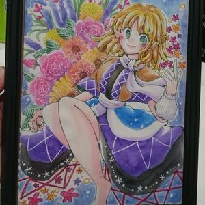 アナログ原画「花とパルスィ」