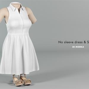 3Dモデル ノースリーブドレス / サンダル 2点セット