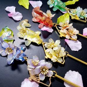 金魚と扇と桜のかんざし・4種/各1