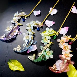 金魚と月と桜のかんざし・6種/各1