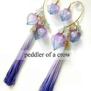 鬼灯のイヤーフック・紫グラデ