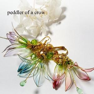 花と蕾の耳飾り・3種シャボン玉カラー・片耳売り