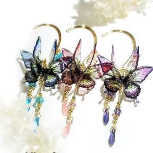 紫陽花色・蝶々のイヤーフック3種各1個売り