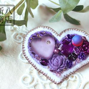 紫ハートのブローチ