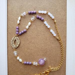 白と紫のネックレス