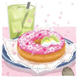 ポスター【桜舞う春のドーナツ】
