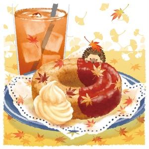 ポスター【紅葉降る秋のドーナツ】