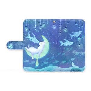 手帳型Androidケース【月ネコとお魚】