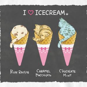Tシャツ【アイスクリーム】BGチャコールブラック
