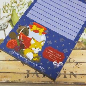 イチゴときつねとたぬきのメモ帳(紺)