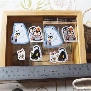 ペンギン、シロクマ、猫ステッカーセット