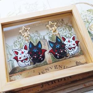 白狐と黒狐 アクリルキーホルダー