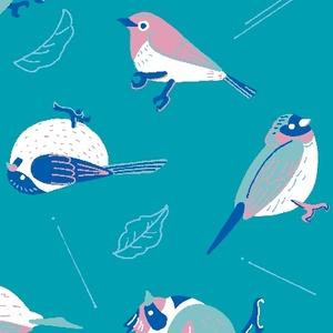 鳥と葉っぱと(ブルー)