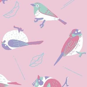 鳥と葉っぱと(ピンク)