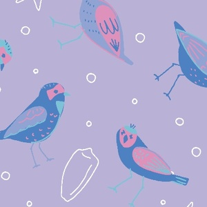 海辺の鳥たち(ラベンダー)