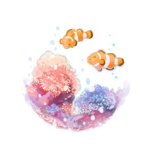 缶バッジ クマノミと珊瑚