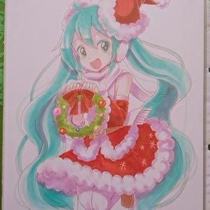 【同人手描きイラスト】サンタミクさん