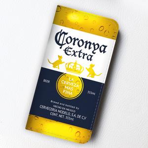 ビールにゃんこの手帳型ケース(コロニャ)
