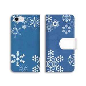 【和柄】雪輪文様の手帳型ケース(藍色)