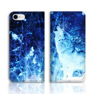 雪原のオオカミ 手帳型スマホケース